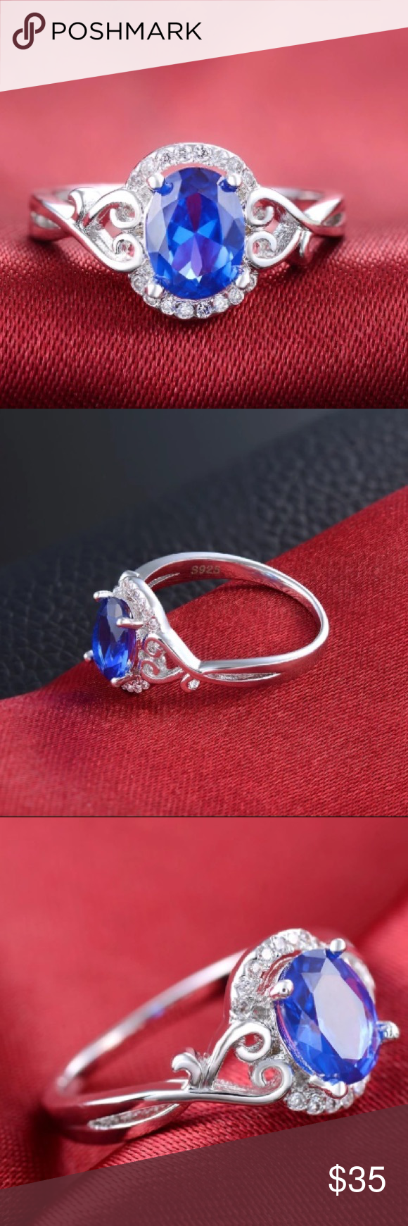 (Size 6) blue wedding ring Brand new. White gold plated / s925 stamps ring fashion Jewelry Engagement Cubic Zircon Diamond for women still have size 6/7/8 price firm Jewelry Rings