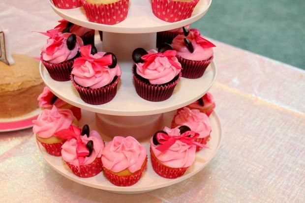 Hostess with the mostess® minnie mouse 1st birthday cup cakes