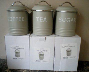 Home Sweet Retro Green Tea Coffee Sugar Canisters Set Co Uk