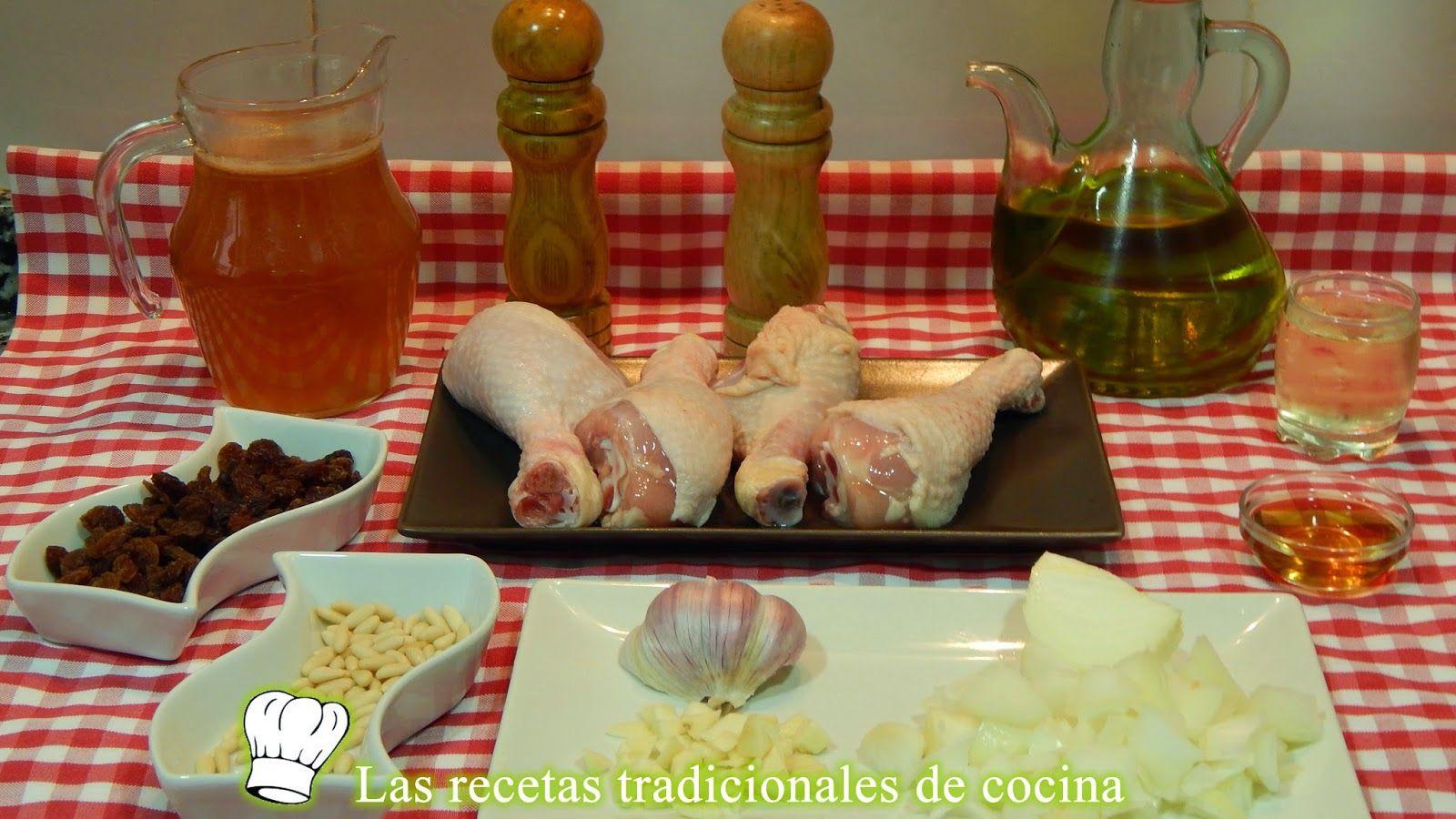 Receta de jamoncitos de pollo con salsa de pasas y piñones