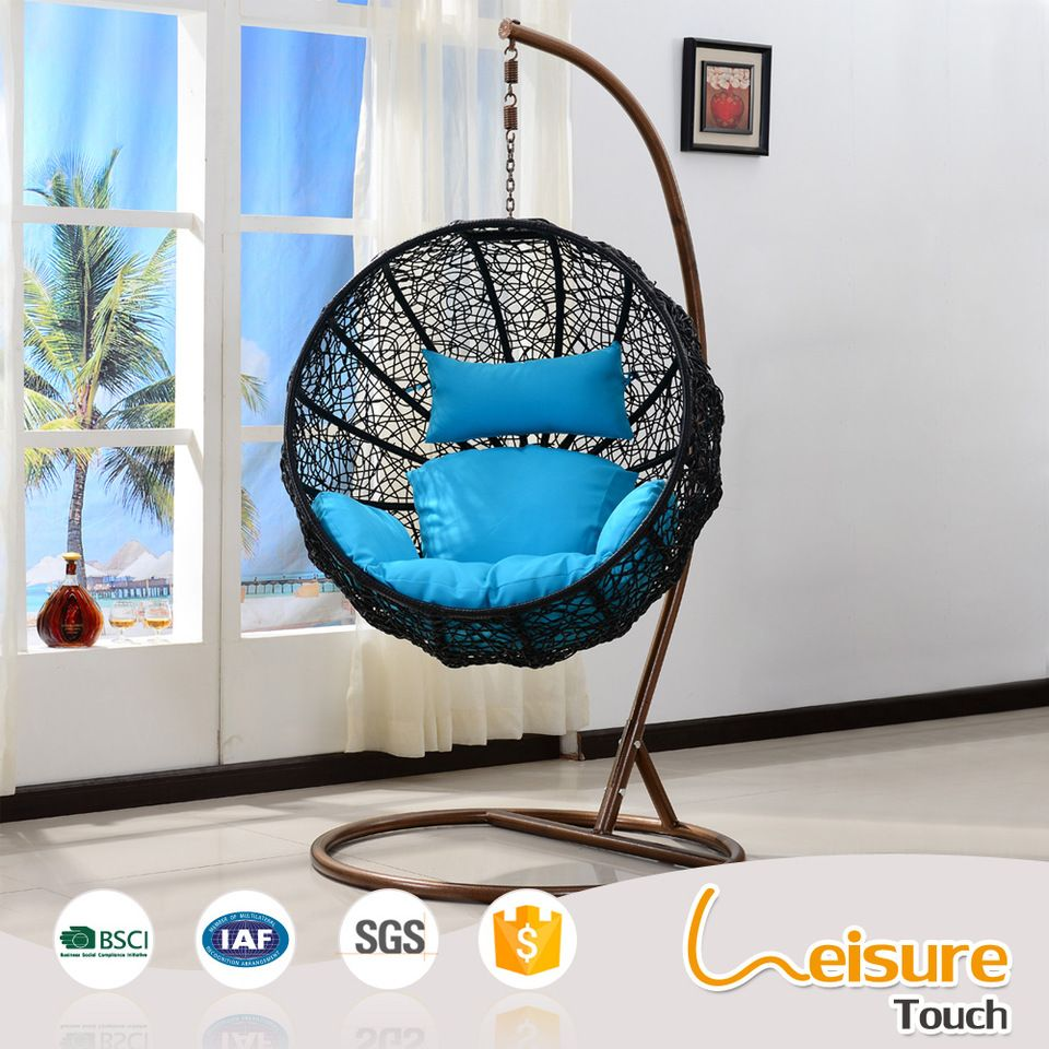 Round Outdoor Garden Rocking Chair Wicker Rattan Lounger Hanging Swing  Basket Chair