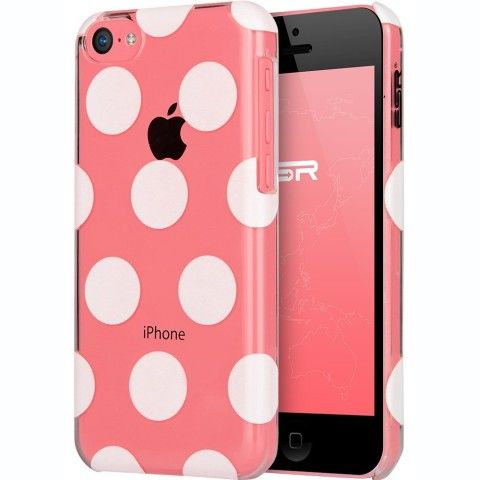 ESR the Beat Series Hard Clear Back Cover Snap on Case for iPhone 5C (Polka Dots): Cell Phones & Accessories