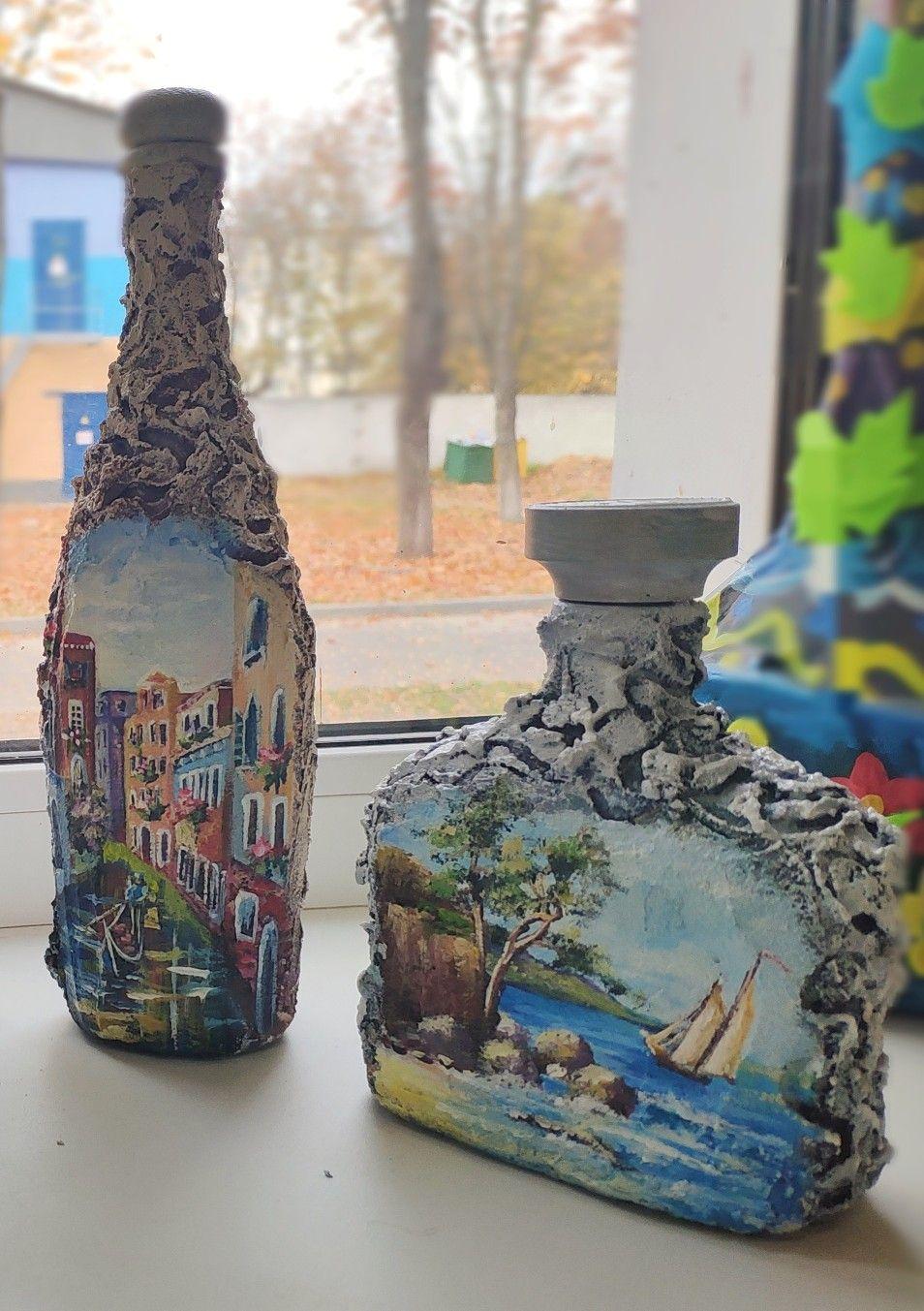 gift новогодняя зимний узор красивое оформление бутылки