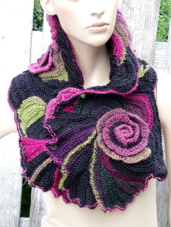 Rainbow crochet cowl Boho style scarf Rainbow neckwarmer Freeform ...