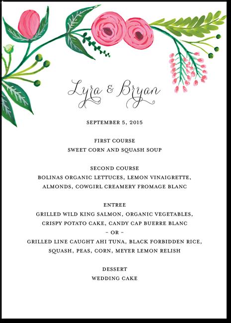 Garden Gala White Fun Wedding Invitations Wedding Menu Cards
