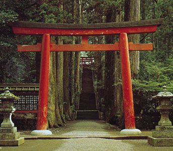 Torii At the entrance to a Shint Shrine on Mount Hakone east