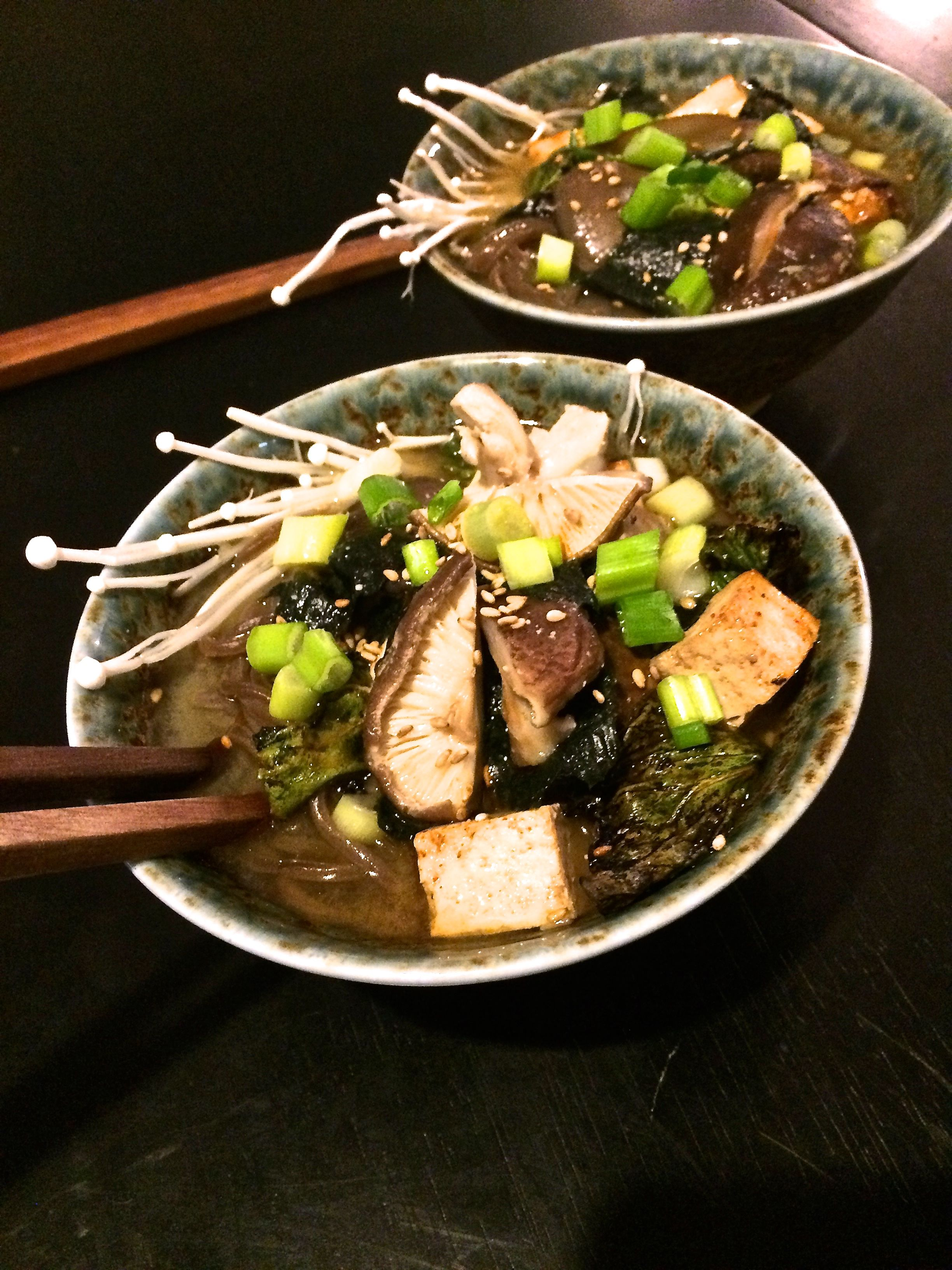 Roasted Mushroom Miso Soup with Soba Noodles- GlitterItGold