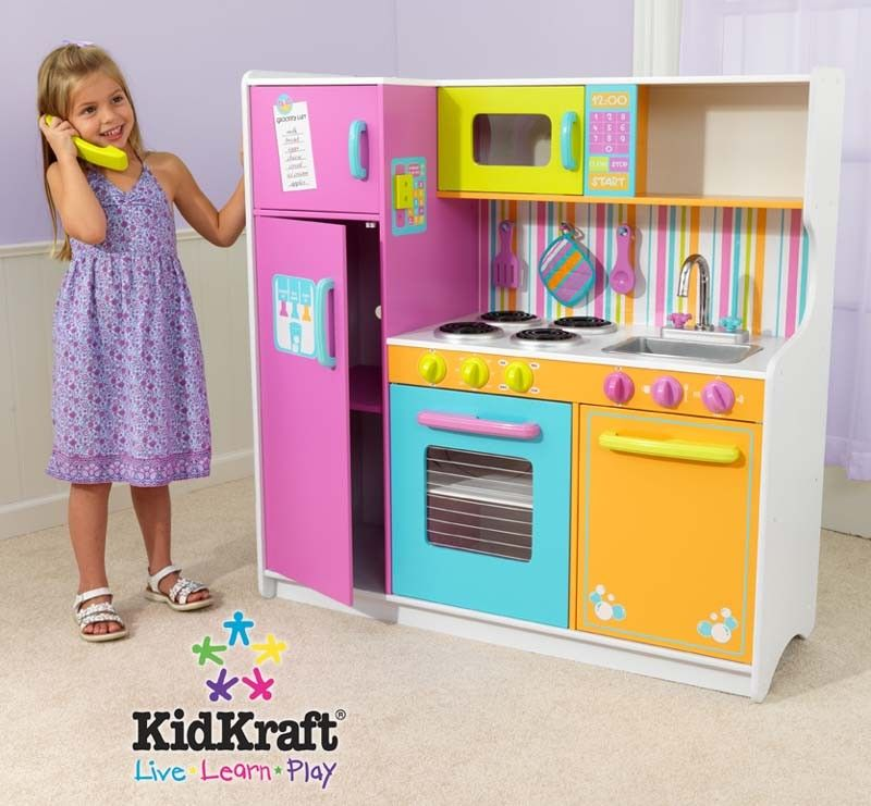 Kidkraft Wooden Play Kitchen kidkraft deluxe big & bright kitchen 53100 play kitchen | $199.95