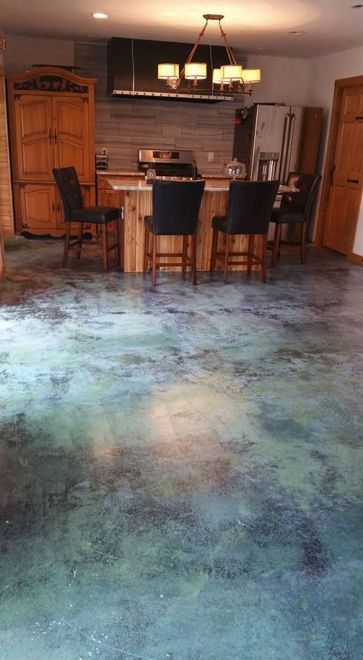 Acid Stained Concrete · Azure Blue Acid Stain, AC1315 High Gloss Sealer And  Commercial Wax