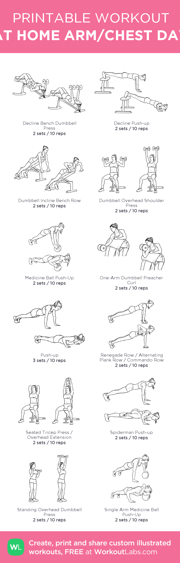 AT HOME ARM/CHEST DAY – my custom workout created at WorkoutLabs.com • Click through to download as printable PDF! #customworkout