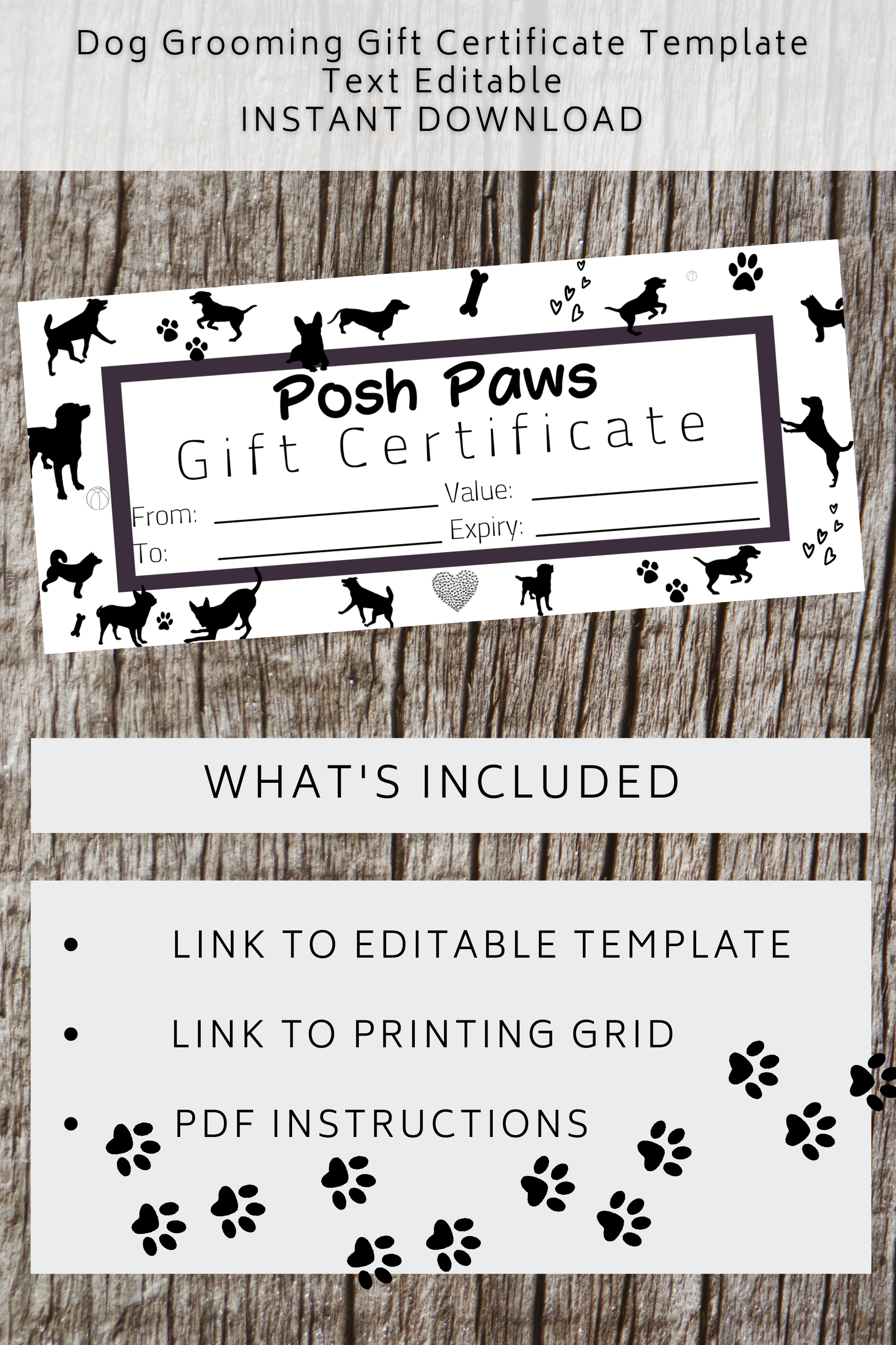 Gift Certificate Template Dog Grooming Diy Gift Voucher For Small Business Add Your Logo Editable Digital Download Gift Certificate Template Certificate Templates Gift Certificates