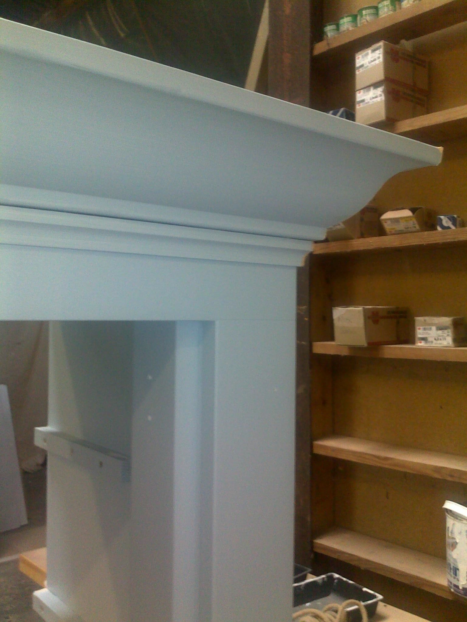 Detail of crown moulding for kitchen free standing dry food storage