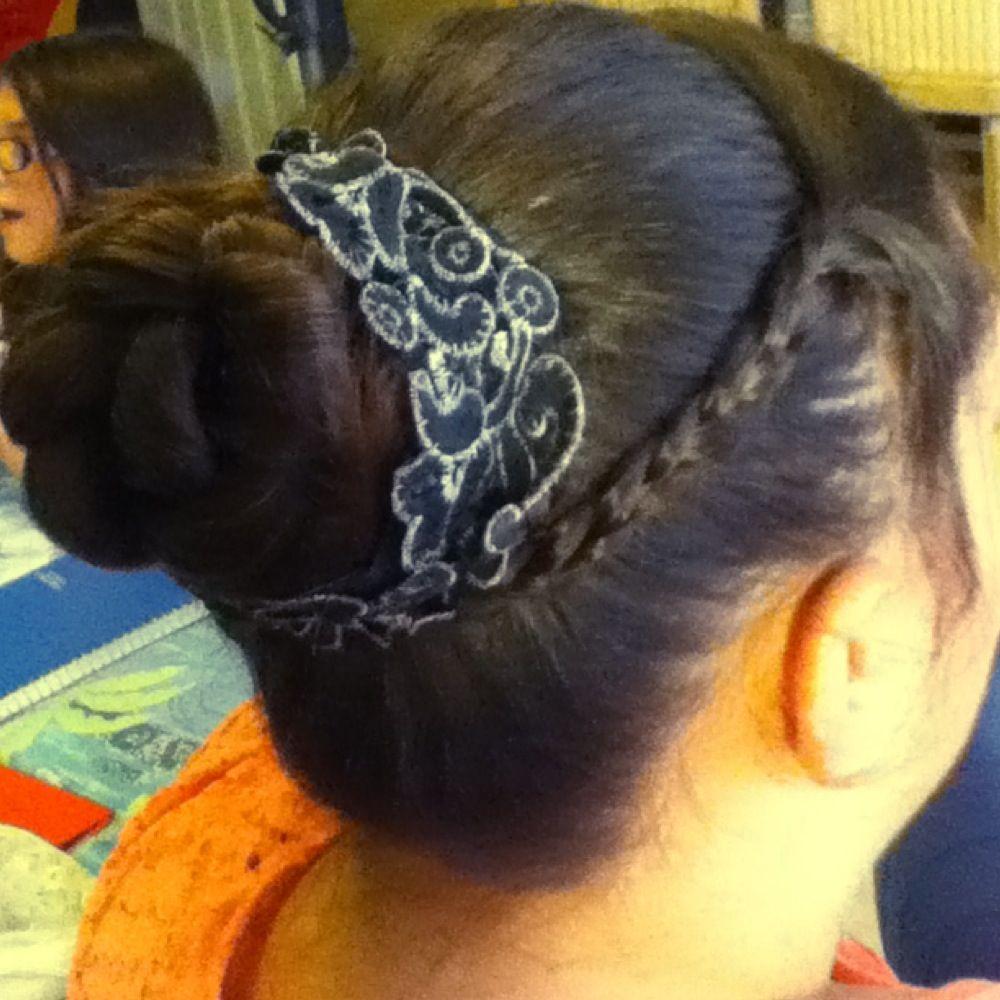 Added a fun headband around my sisters braided bun ribbon would be