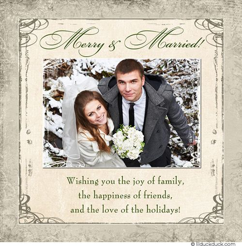 festive ivory wedding folded thank you card just married