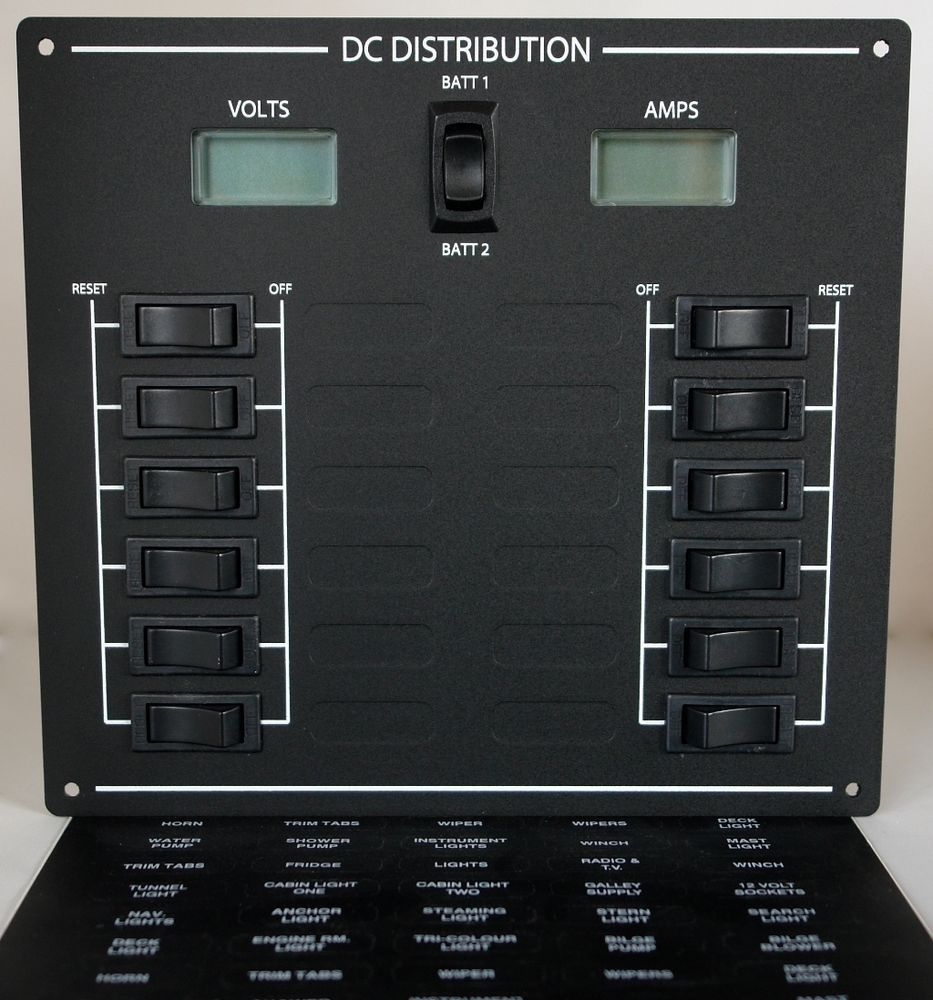 Narrowboat Boat Circuit Breaker Switch Panel With Digital Volts Amps