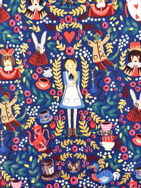Half yard Alice in wonderland fabric blue and pink color Japanese fabric