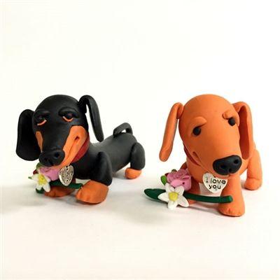 Dachshund I Love You Collectible Figurines Handmade