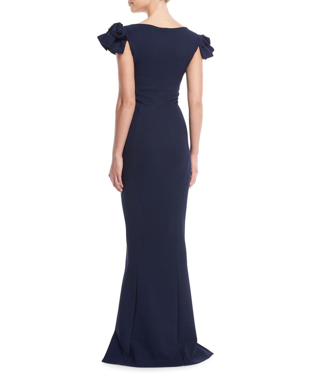 b1bde9d410e1ce Chiara Boni Belvis V-Neck Rosette-Sleeve Gown | Products | Gowns ...