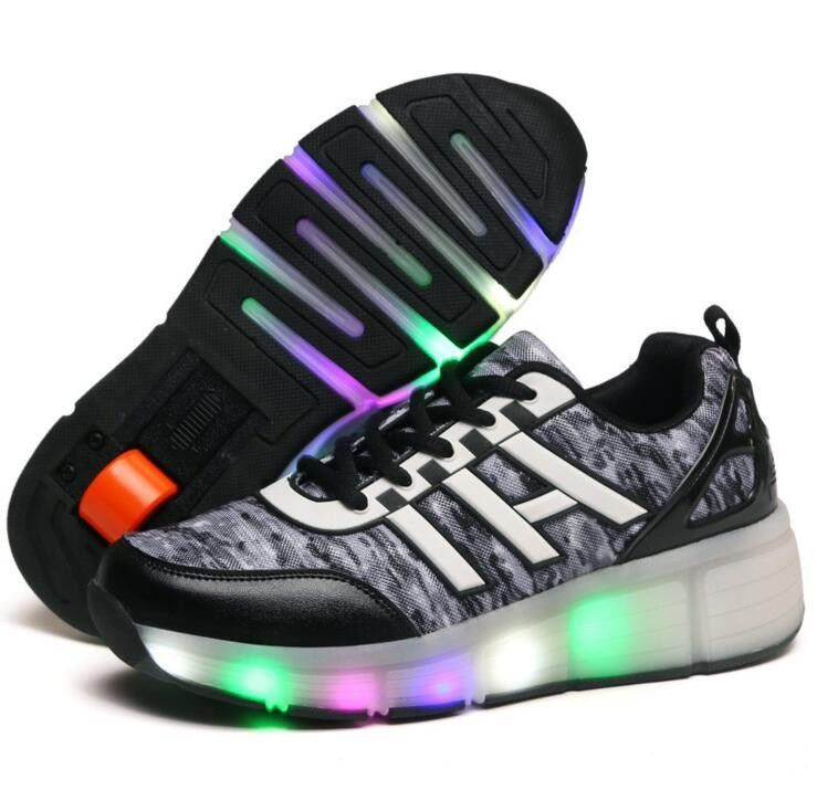 New Euro Size 30 40 Children Wheel Led Light Kids Sneakers Two