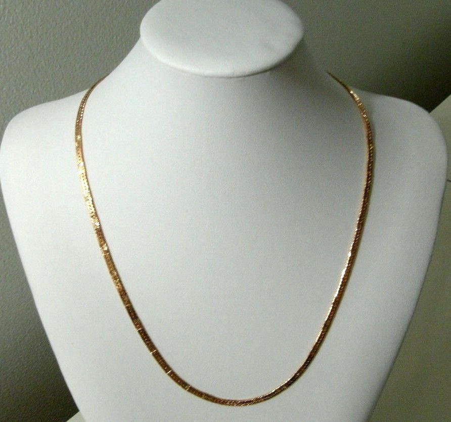 Yellow Gold Plated Necklace Womens Girls 20in Etched Design 9k ...
