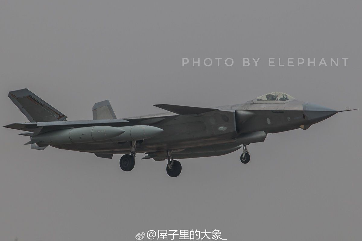 China PLAAF J20 Stealth with four external drop tanks