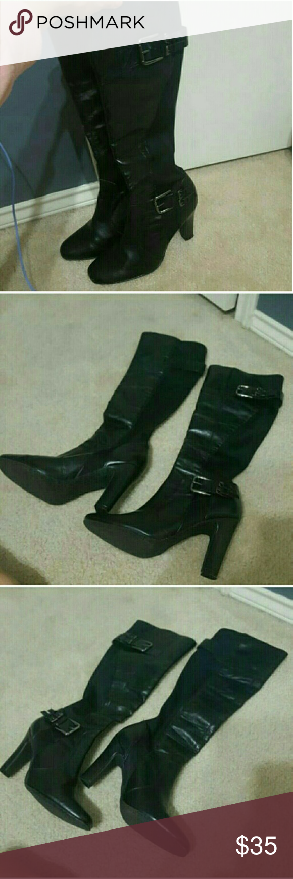 CARTUROCHIAN KNEE HIGH BOOTS NO TRADES AT THE MOMENT PLEASE NEW CONDITION NOT WORN KNEE HIGH BOOTS  VERY STRETCHY BUCKLES ON TOP AND BOTTOM HEELS IS ABOUT 2 INCHES Carturochian Shoes Heeled Boots