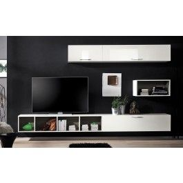 Soggiorno design minimal con libreria tutto sospeso bianco for Center mobili outlet