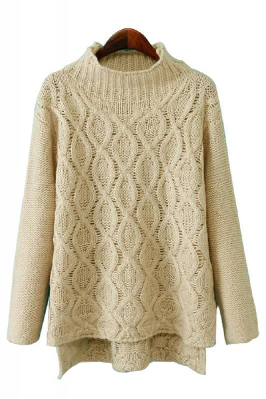 So Pretty! Love this Sweater! Cozy Beige High Low Hem High Collar Long Sleeve Pullover Loose Sweater #Cozy #Cable #Knit #Holiday #Sweater #Fashion