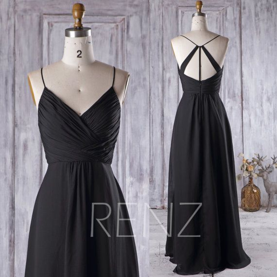 Black Bridesmaid Dress Black Chiffon Wedding Dress Backless Prom Dress Long V Neck A-Line Black Chiffon Ball Gown (H289A)