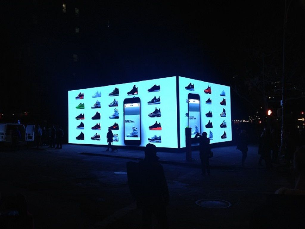 Nike light up popup shop at night
