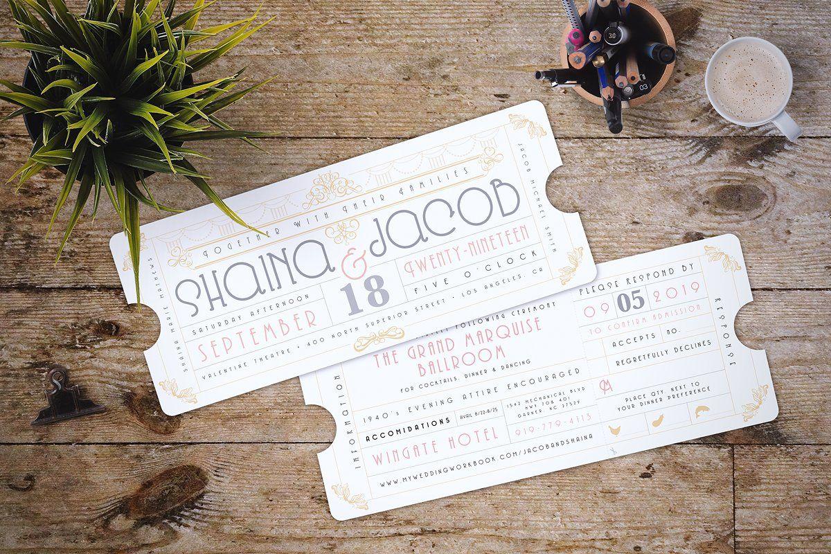 art deco ticket wedding invitation by nimbi design on