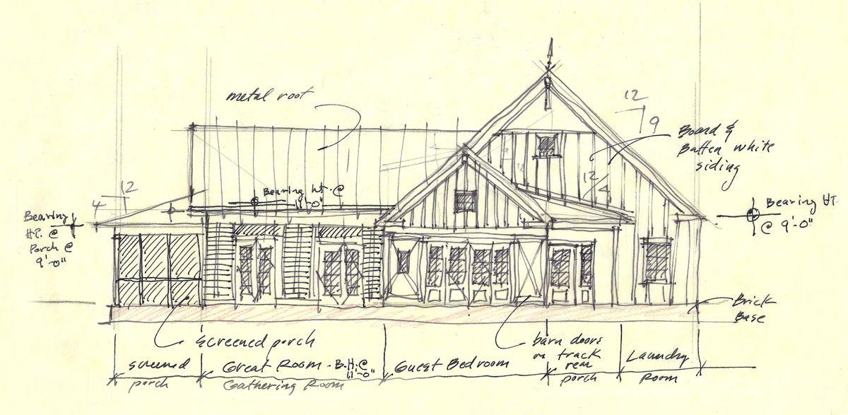 Sketch Of A Recently Design Farmhouse