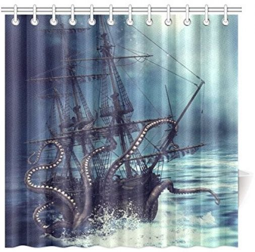 Pirate Ship Octopus Custom Shower Curtain 72x72 Waterproof