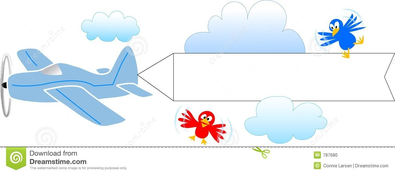Cartoon Airplane With Banner Cartoon Illustration Of An Airplane