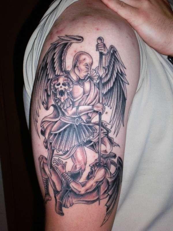 Angel And Devil Tattoo : angel, devil, tattoo, Angel, Fighting, Demon, Tattoo, Ideas, Tattoo,, Demons,