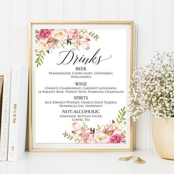 Bar Menu Sign, Drink Sign, Printable Bar Menu Wedding, Wedding Bar - bar menu template