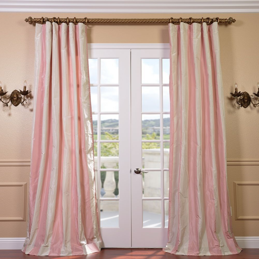 Exclusive Fabrics Light Pink Cream Stripe Faux Silk Taffeta Curtain Panel 84 Inch Size 50 X