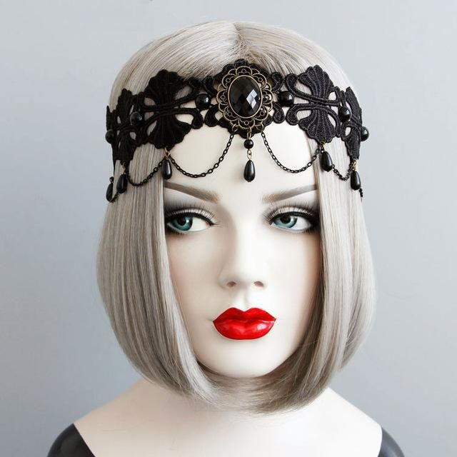 Vintage Gothic Black Lace Tassel Crown Masquerade Headwear Fancy Headband