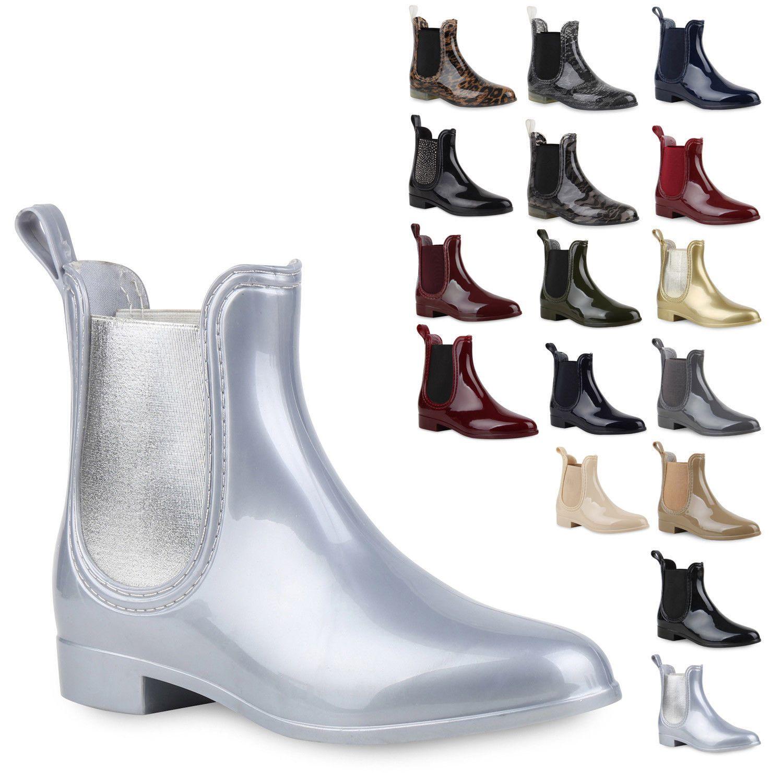 LACK STIEFELETTE GUMMISTIEFEL Chelsea Jelly Boots Reit Regen
