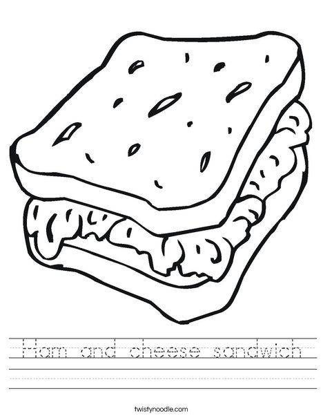 Ham And Cheese Sandwich Worksheet Twisty Noodle Food Coloring