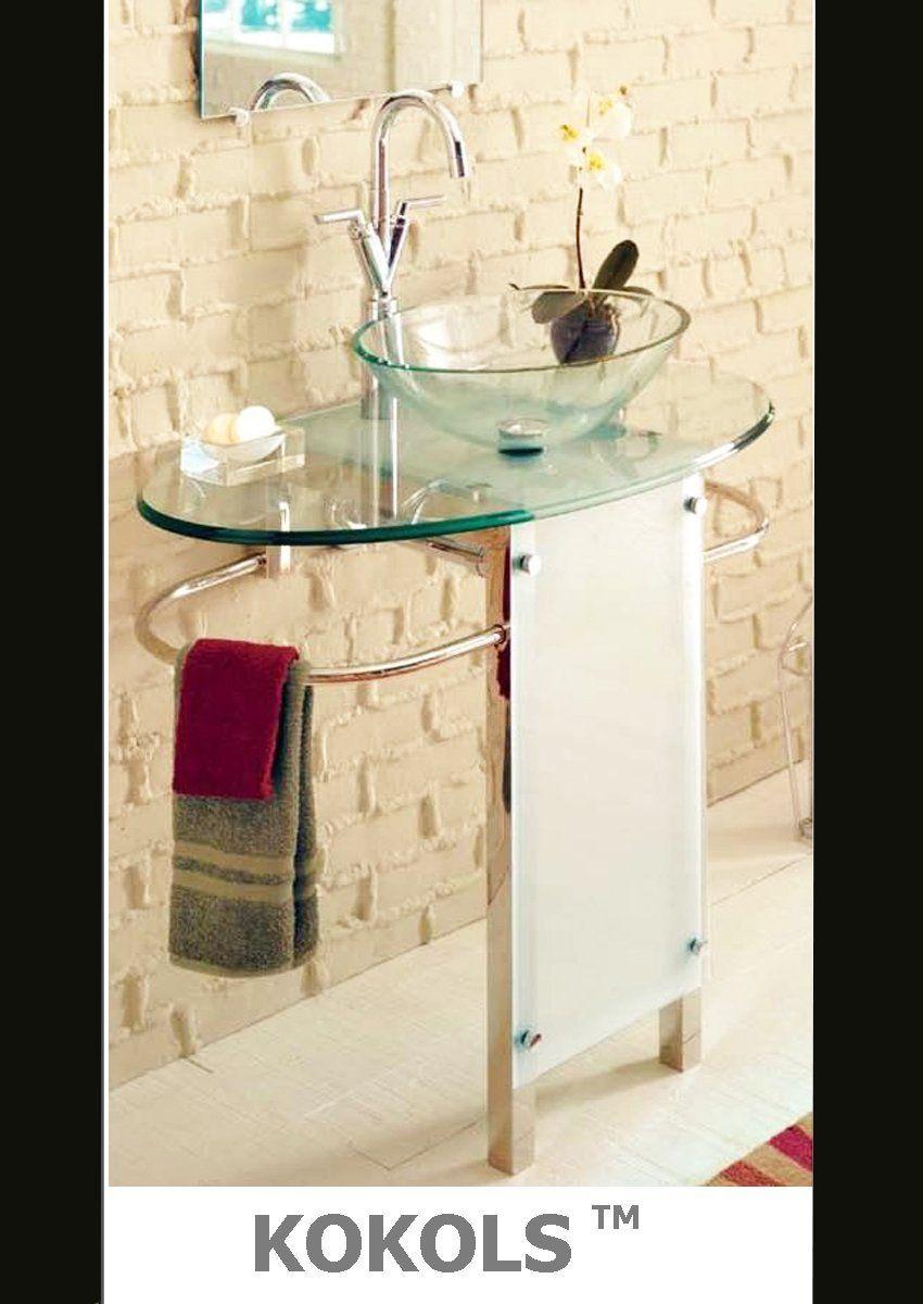 Wall Mount Clear Glass Vessel Sink Combo W Stand - Bathroom Vanities -  Amazon