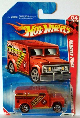 2010 Hot Wheels 184/240 Armored Truck, Red 1:64 by Mattel. $3.99. officially licensed. exclusive designs. 1/64 scale. designed for an adult. die cast body and chasis. Mattel Hot Wheels 1998 1:64 Scale Biohazard Series Rescue Ranger Die Cast Car 4/4 #720