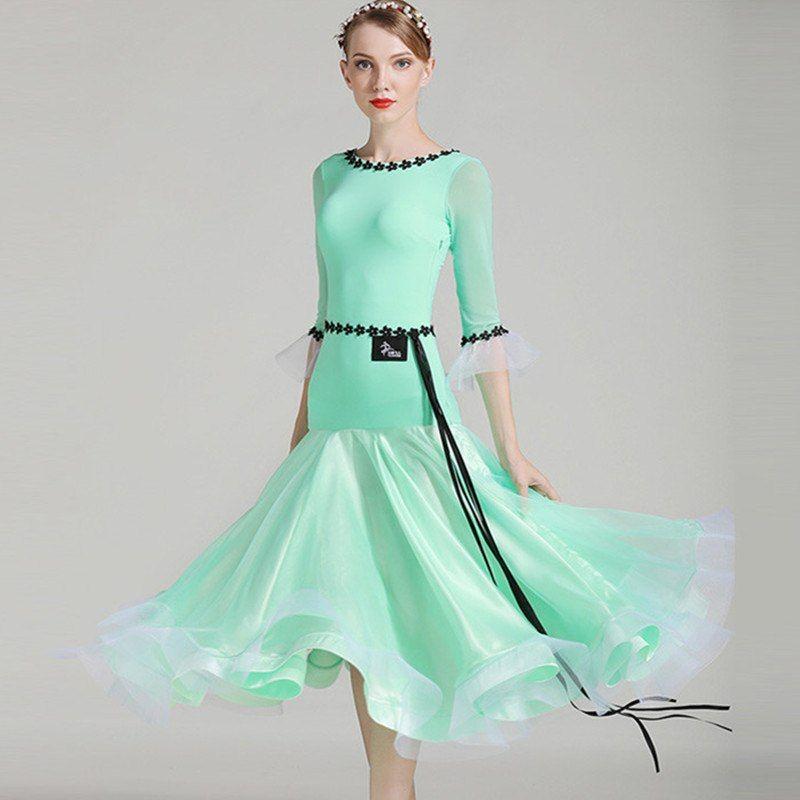 green white women ballroom dance dress standard ballroom dress dance wear  waltz dress fringe spanish flamenco 4af8f4edf