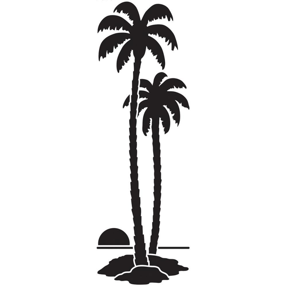 Dreamweaver Tall Palm Trees Stencil Blue Edge Crafts Tree