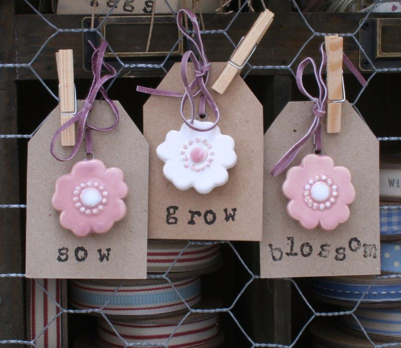 sow, grow, blossom gift cards with ceramic flowers