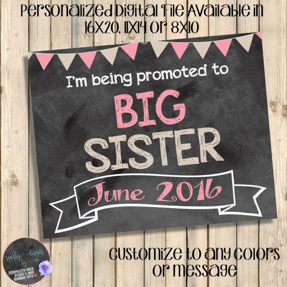 Pregnancy Reveal Big Sister to Be Pregnancy Announcement Big Sister Announcement Chalkboard Pregnancy Announcement Digital or Printed