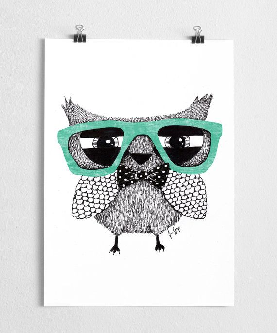 A super cute hipster owl illustration with glasses. The original was made with think marker pens.   High quality print made on 250g fine paper with