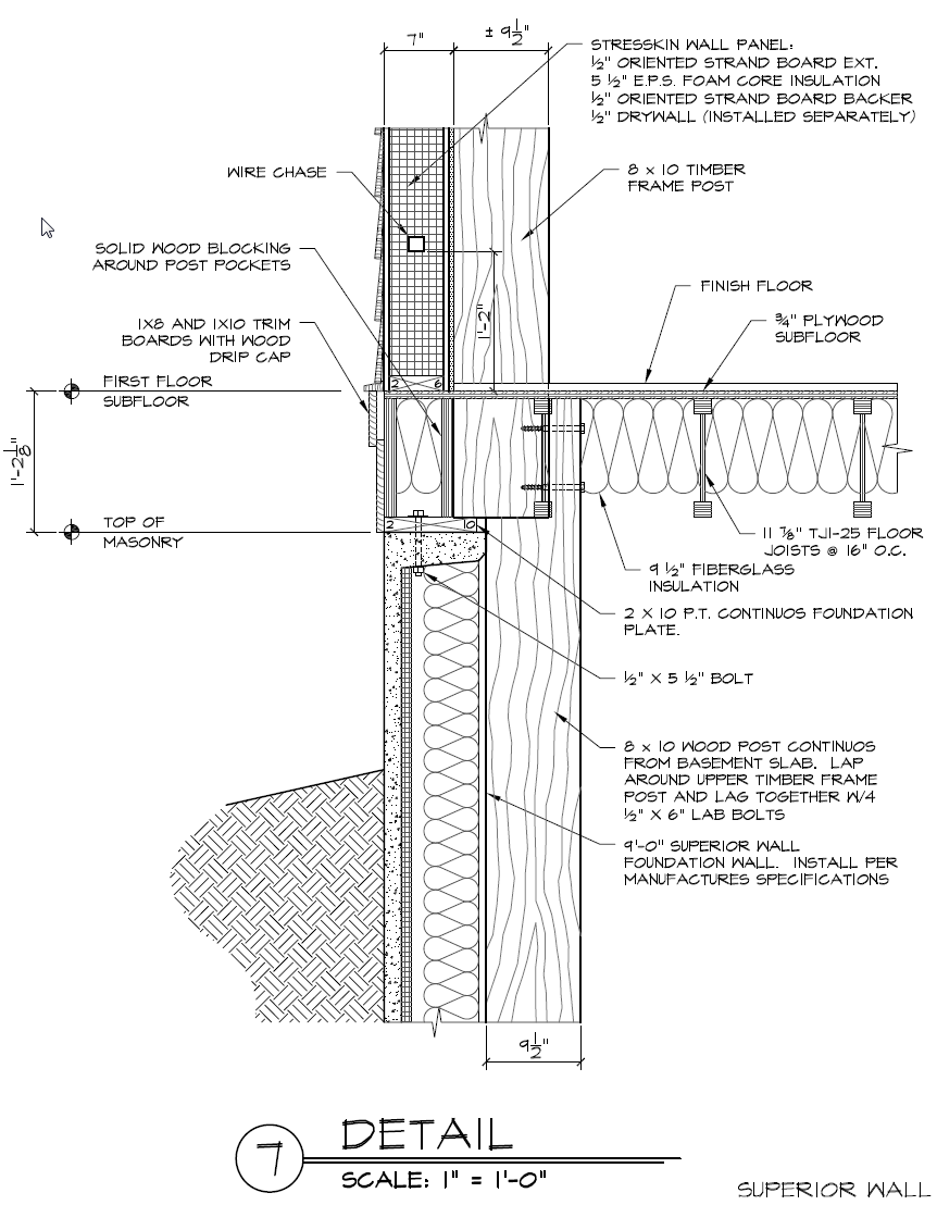 Superior foundation wall and timber frame post detail for Prefab foundation walls