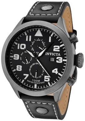 Invicta Men's Specialty Black Dial Black Genuine Calf Leather