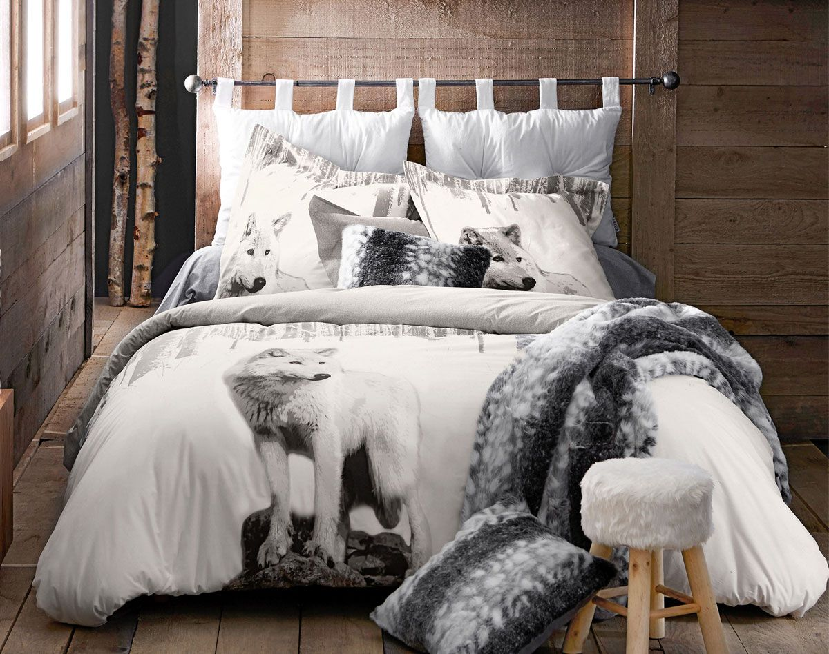 linge de lit imprim loup becquet int rieurs d co styles objets que j 39 aime pinterest. Black Bedroom Furniture Sets. Home Design Ideas